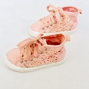 Zara Light Coral Lace Hightop Sneakers
